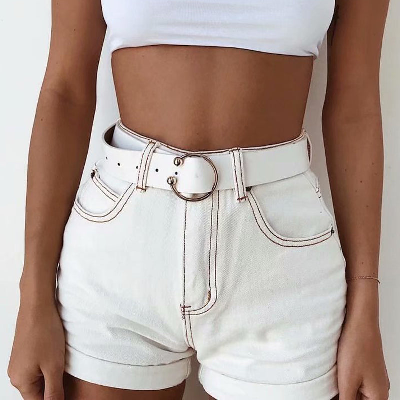 White Women's Vintage High Waist Short Jeans