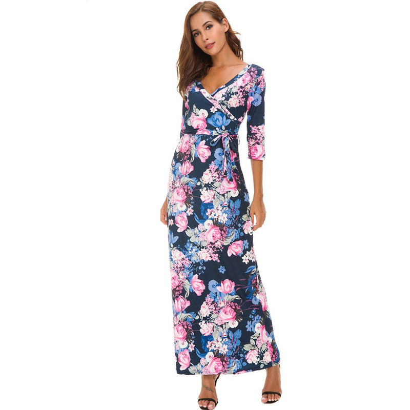 Fashion Long Print Dress V-neckline