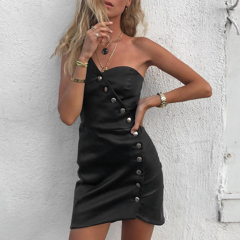 One Shoulder PU Party Dress