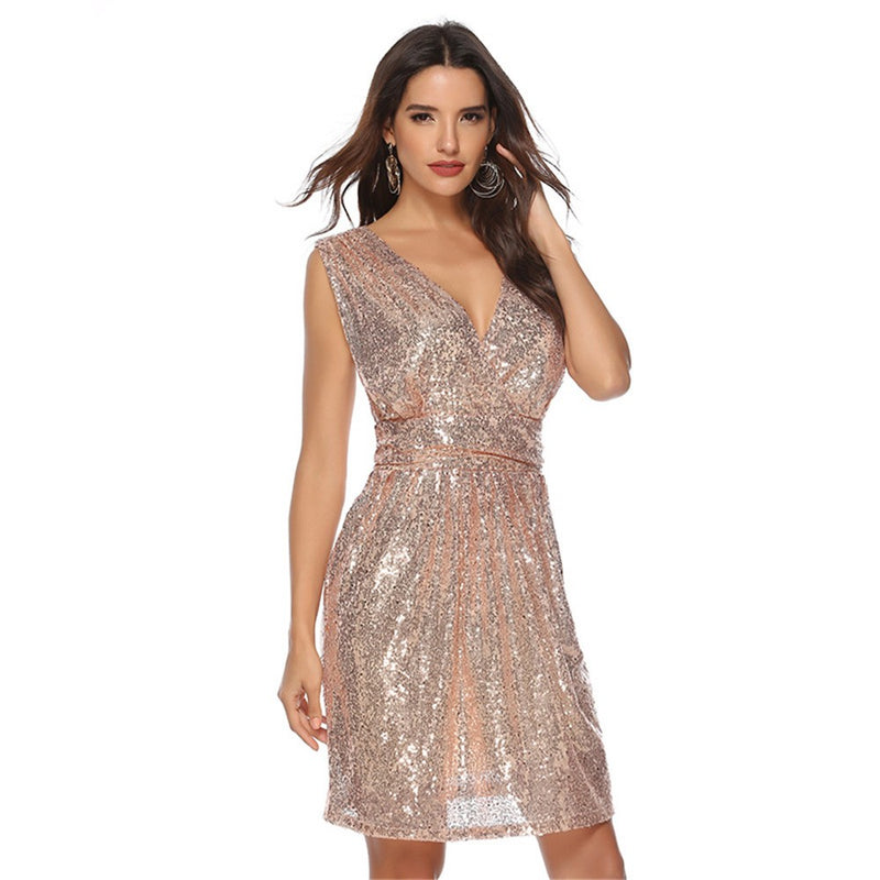 Deep V-Neck Sequined Mini Party Dress