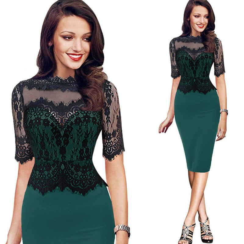 Vintage Lace Pencil Evening Party Dress