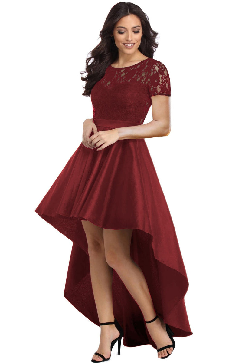 Lace Bodice Elegant Hi-low Party Dress