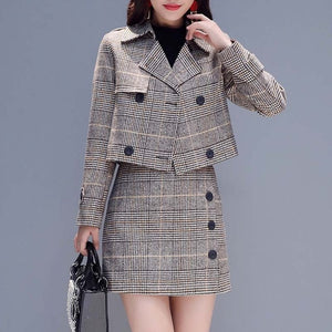 2 Piece Plaid Suit With Skirt