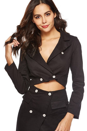 Skirt Suit Set With Sexy Crop Top Notched Mini Skirt