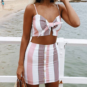 Summer Sleeveless 2 Piece Set With Spaghetti Strap