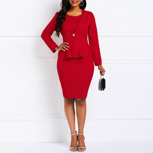 Office Wear Solid Red 2 Piece Dress Suit