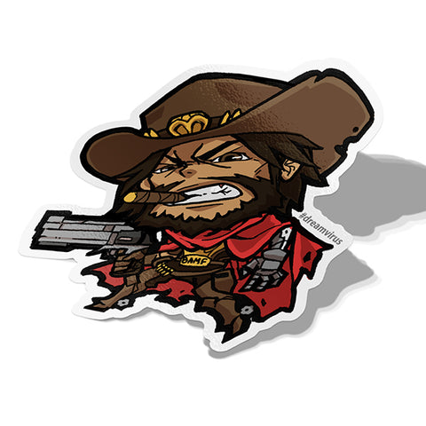 Mccree, Vinyl Sticker, Overwatch, AJTouch
