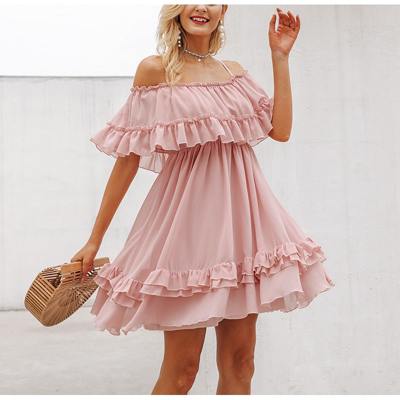 Off shoulder Ruffles Chiffon Dress - The Land of Florals