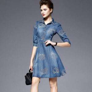 Embroidery Denim Dress - The Land of Florals
