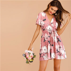 Floral Print Belted Wrap High Waist Boho Dress - The Land of Florals