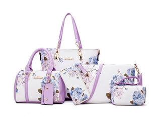Elegant Floral PU Leather Handbags 6 Piece Gift Set - The Land of Florals