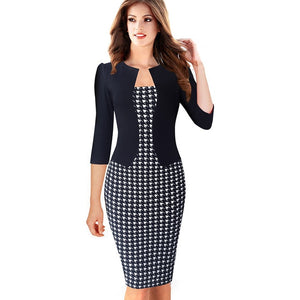Faux Jacket Brief Elegant Patterns Work dress - The Land of Florals