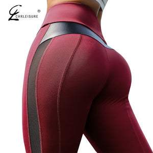 High Waist Fitness Leather Patchwork Leggings - The Land of Florals