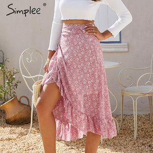Women High Waist Casual Streetwear Skirts - The Land of Florals
