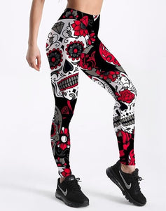 Women's Skull&flower Digital Print Leggings - The Land of Florals