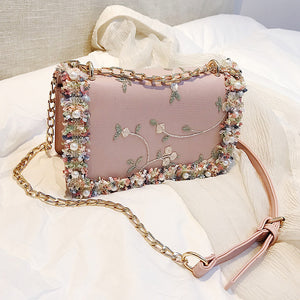 Rhinestone Pearl Shoulder Bag - The Land of Florals