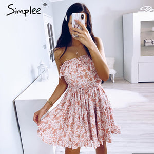 Sleeveless floral print tube dress beach holiday Dress - The Land of Florals