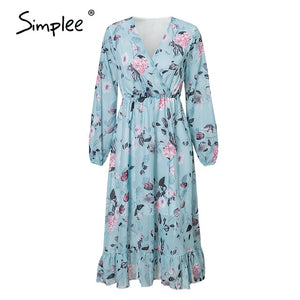 Women Floral Print Chiffon Boho Dress - The Land of Florals