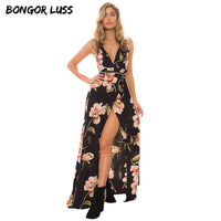 Floral Orchid Bloom Print Maxi Dress