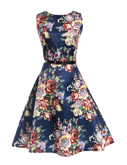 Womens Vintage Floral Printed Pin Up Girl Dress
