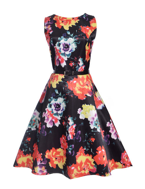 Womens Vintage Floral Printed Pin Up Girl Dress - The Land of Florals