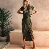 Womens Stylish Roman Influenced Wrap Dress - The Land of Florals