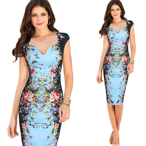 Womens Floral Printed Pencil Dress - The Land of Florals