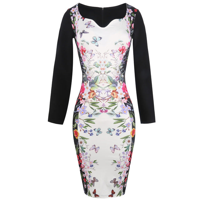 Womens Floral Printed Pencil Dress