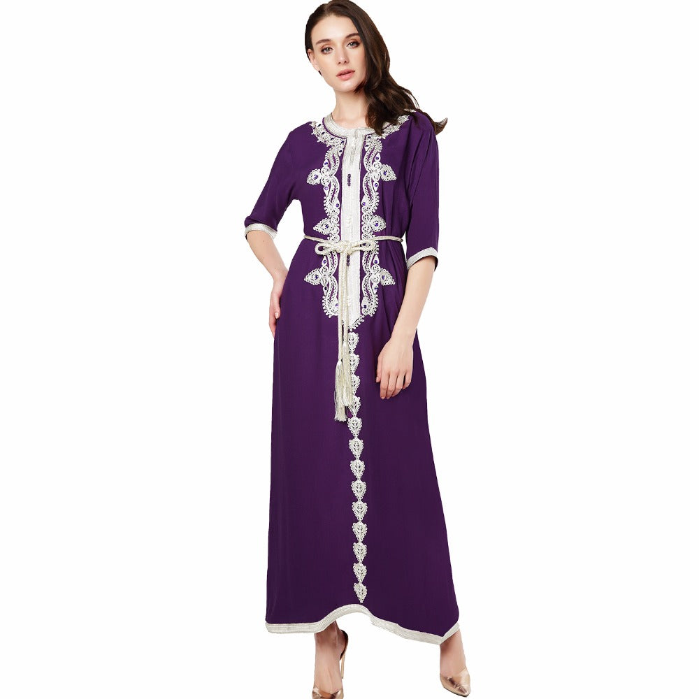 Middle Eastern Arabian Style Inspired Long sleeve Kaftan Dress - The Land of Florals