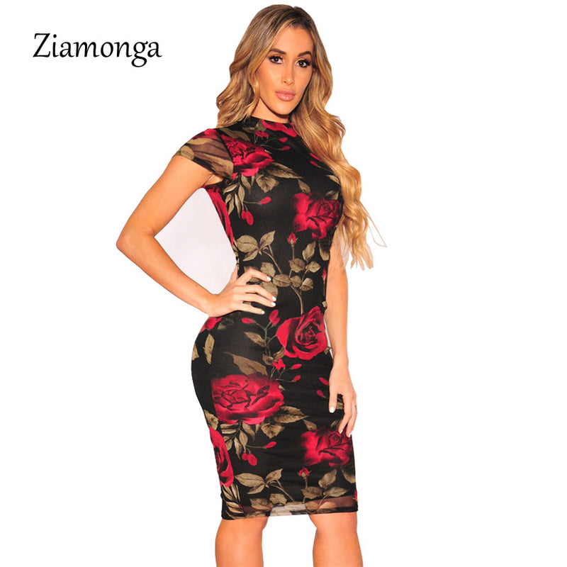 Sexy Black Floral Print Knee Length Bodycon Dress
