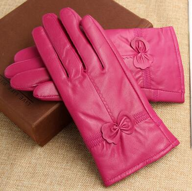 Chic Genuine Leather Sheepskin Gloves with Bow