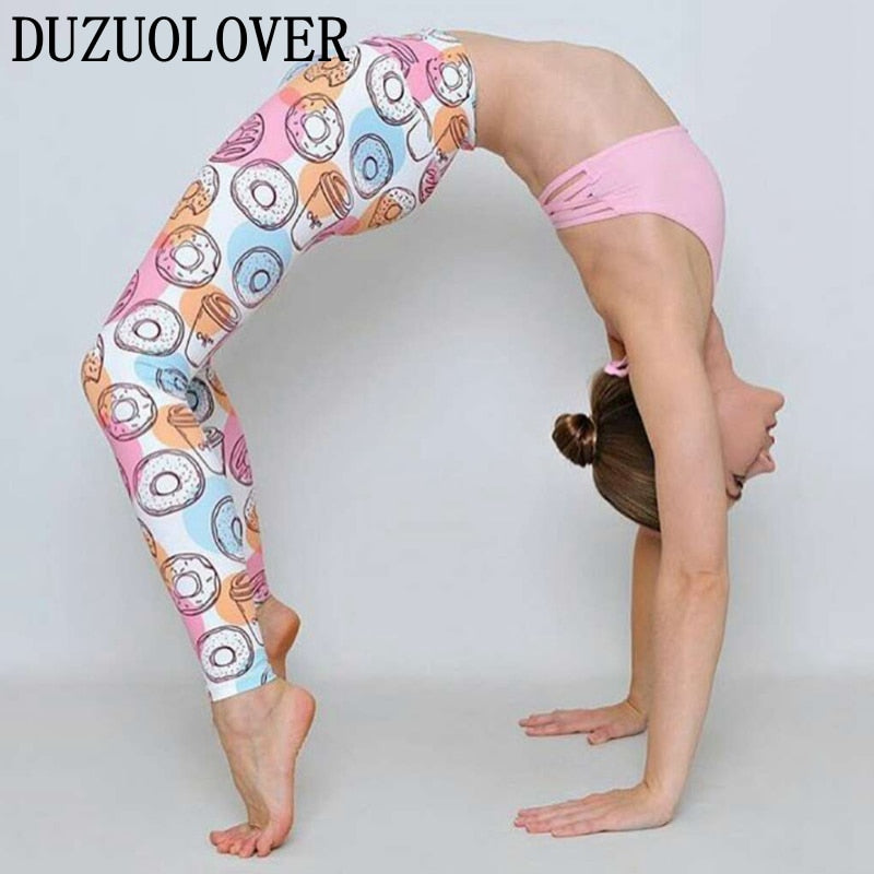 Donuts Print Yoga and Gym Leggings - The Land of Florals