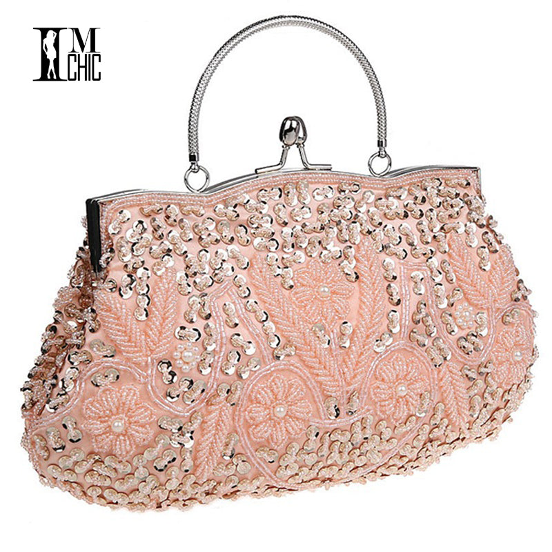 Wedding Bridal Party Prom Beads Embroidered Clutch Bag