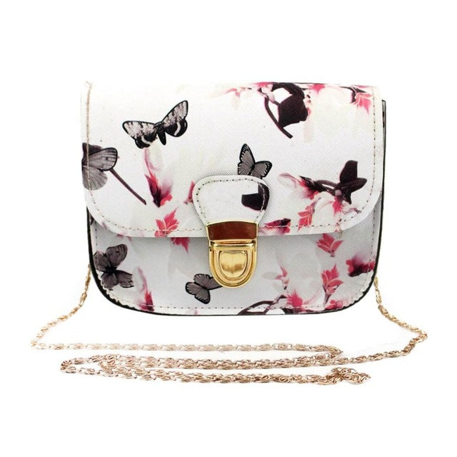 Womans Butterfly & Flower Print Leather Style Handbag