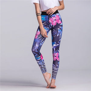 Sports Leggings High Waist Compression Floral Gym Pants - The Land of Florals