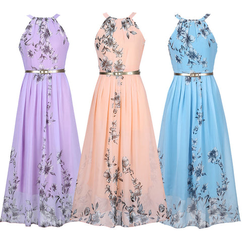 Womens Apricot Floral Sleeveless Party Dress