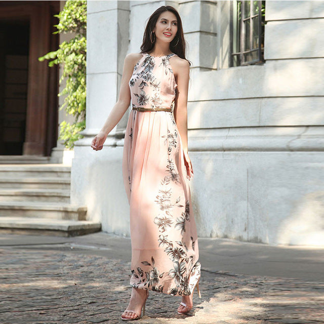 Elegant Belted Womens Floral Print Maxi Dress - The Land of Florals