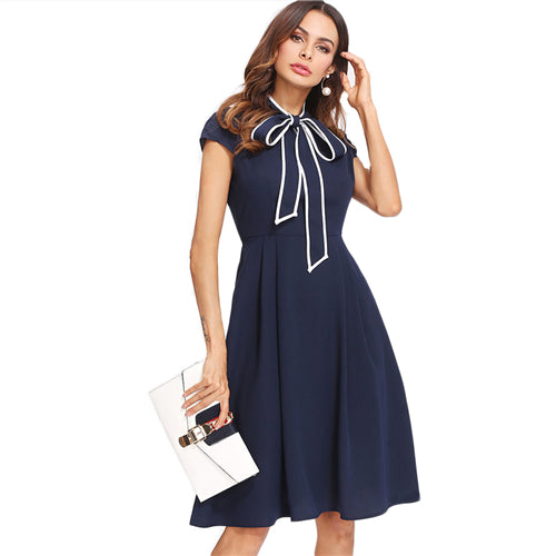 Navy Tie Neck Skater Dress