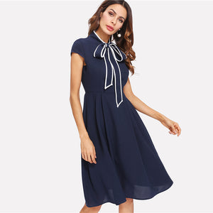 Navy Tie Neck Skater Dress - The Land of Florals