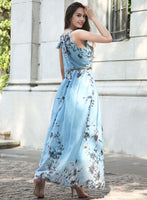 Elegant Belted Womens Floral Print Maxi Dress