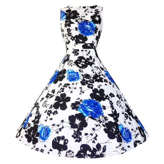 Womens Floral Print Summer French Inspired Chic Style Dress