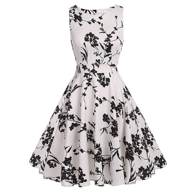Womens Floral Print Summer French Inspired Chic Style Dress - The Land of Florals