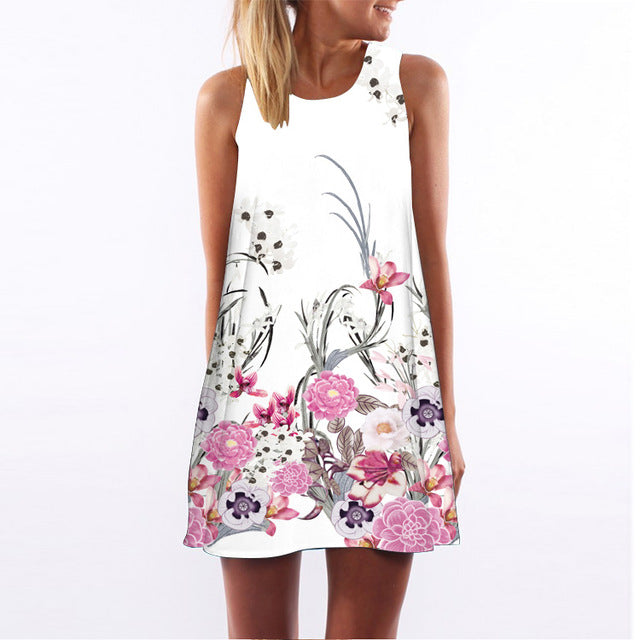 Womens Floral Print Cute Chiffon Dress - The Land of Florals