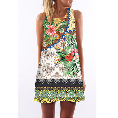 Womens Floral Print Cute Chiffon Dress
