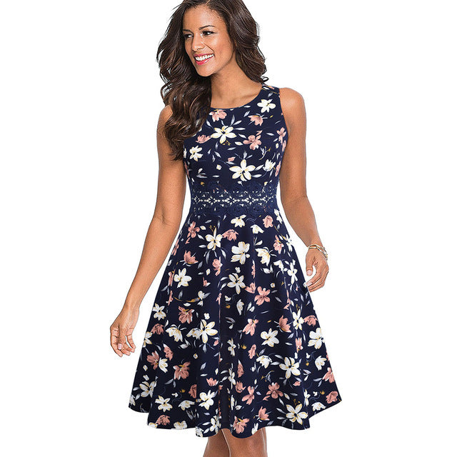 Womens Embroidered Floral Laced Swing Dress