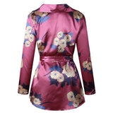 Womens Satin Belted Floral Print Dress - The Land of Florals