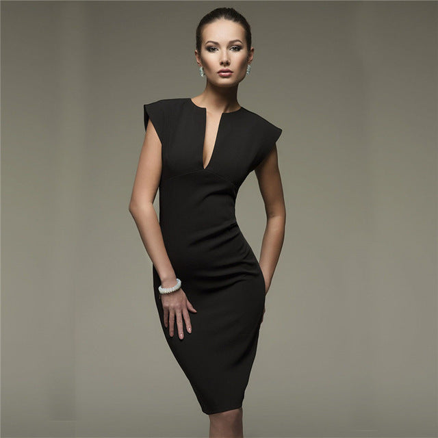Luxe Sleeveless Pencil Shift Dress