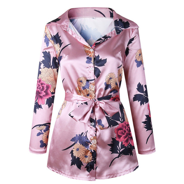 Womens Satin Belted Floral Print Dress