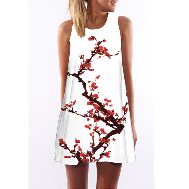 Womens Floral Print Casual Sleeveless Chiffon Dress