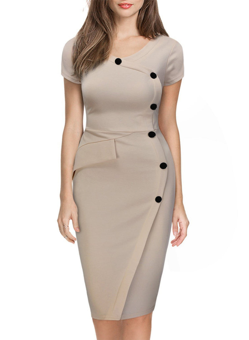Curvy Figure Hugging Womens Bodycon Knee-Length Dress